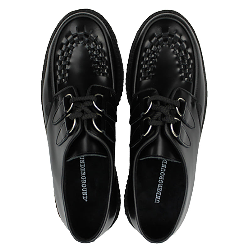 Underground Wulfrun Original Double Sole feature leather uppers, soft breathable textile lining, rubber ribbed outsole unit, twin d-ring eyelet lace up closure, contrasting trims and apron patterns with three rows on interlacing on the vamp.