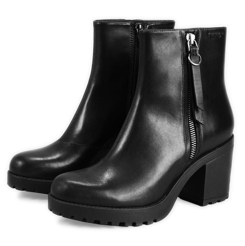 Womens Vagabond Grace Leather High Block Heel Comfort Work Fashion Ankle Boots