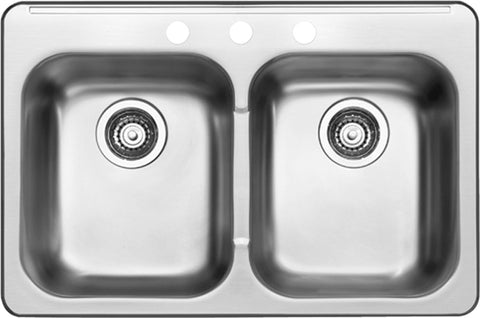 BLANCO 401025 HORIZON 3-HOLE 2 BOWL DROP-IN SINK - STAINLESS