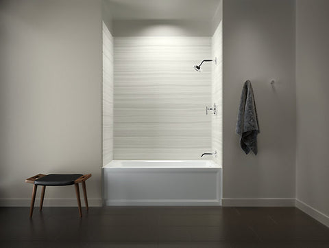 "Kohler- Archer, 60"" x 32"" alcove bath with integral apron, integral flange and right-hand drain"