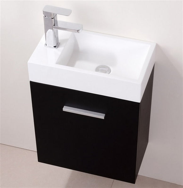 KUBEBATH - BLISS 18″ BLACK WALL MOUNT MODERN BATHROOM VANITY