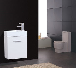 KUBEBATH - BLISS 18″ HIGH GLOSS WHITE WALL MOUNT MODERN BATHROOM VANITY