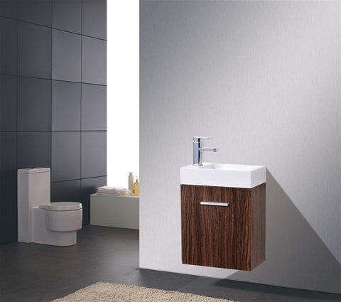 KUBEBATH - BLISS 18″ WALNUT WALL MOUNT MODERN BATHROOM VANITY