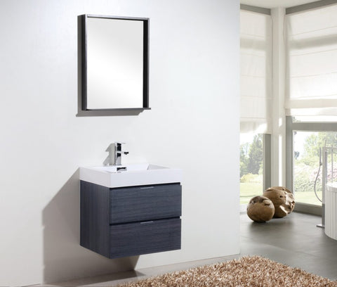 KUBEBATH - BLISS 24″ GRAY OAK WALL MOUNT MODERN BATHROOM VANITY