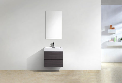 KUBEBATH - BLISS 24″ HIGH GLOSS GRAY OAK WALL MOUNT MODERN BATHROOM VANITY