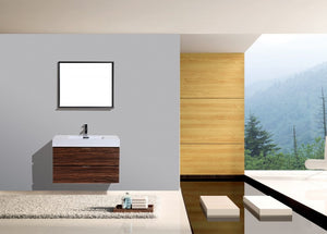 KUBEBATH - BLISS 36″ WALNUT WALL MOUNT MODERN BATHROOM VANITY