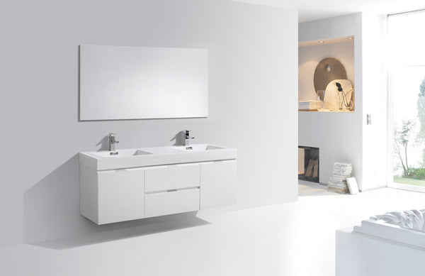 KUBEBATH - BLISS 60″ HIGH GLOSS WHITE WALL MOUNT DOUBLE SINK MODERN BATHROOM VANITY