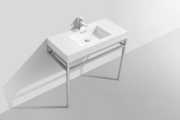 KUBEBATH - H - 40″ STAINLESS STEEL CONSOLE W/ WHITE ACRYLIC SINK – CHROME
