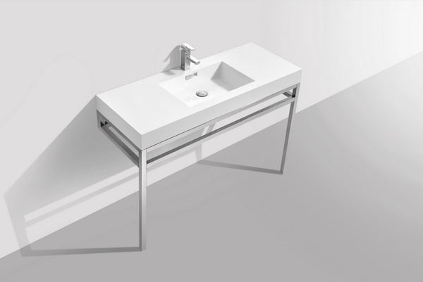 KUBEBATH - H - 48″ STAINLESS STEEL CONSOLE W/ WHITE ACRYLIC SINK – CHROME
