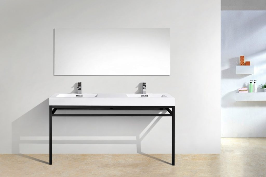 KUBEBATH - H - 60″ DOUBLE SINK STAINLESS STEEL CONSOLE W/ WHITE ACRYLIC SINK – MATTE BLACK