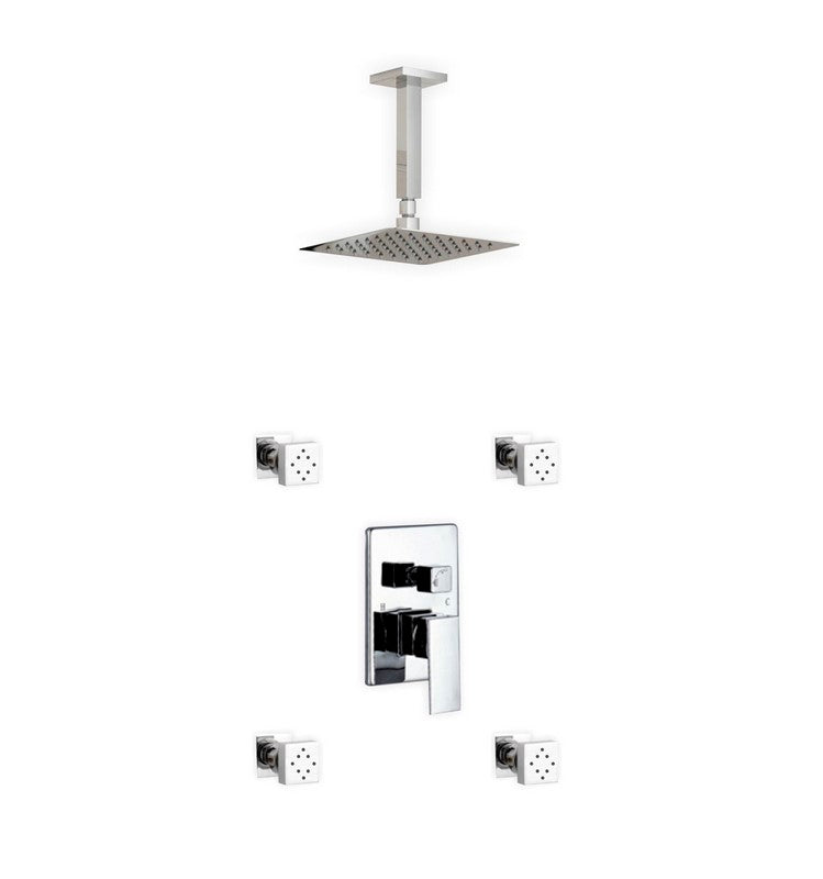KUBEBATH - AQUA PIAZZA SHOWER SET W/ 8″ CEILING MOUNT SQUARE RAIN SHOWER AND 4 BODY JETS