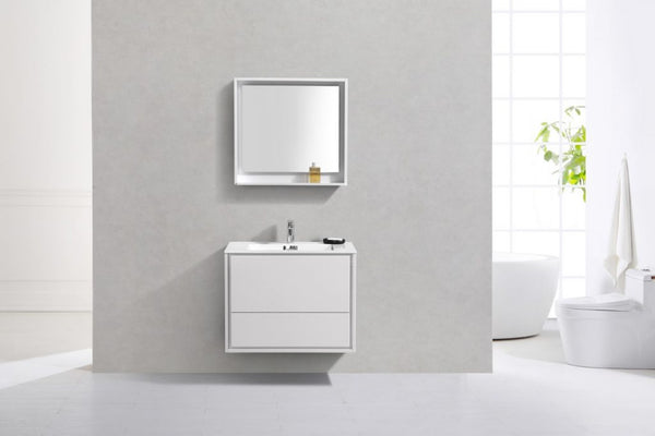 KUBEBATH - DE LUSSO 30″ HIGH GLOSS WHITE WALL MOUNT MODERN BATHROOM VANITY