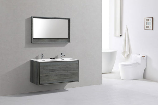 KUBEBATH -DE LUSSO 48″ DOUBLE SINK OCEAN GRAY WALL MOUNT MODERN BATHROOM VANITY