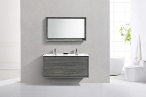 KUBEBATH - 48″ DOUBLE SINK OCEAN GRAY WALL MOUNT MODERN BATHROOM VANITY