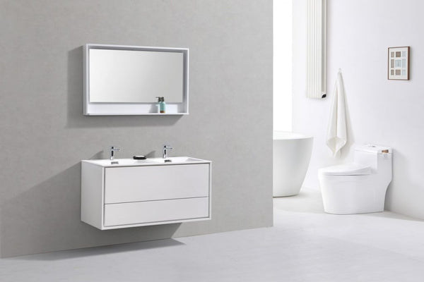 KUBEBATH - 48″ DOUBLE SINK HIGH GLOSS WHITE WALL MOUNT MODERN BATHROOM VANITY