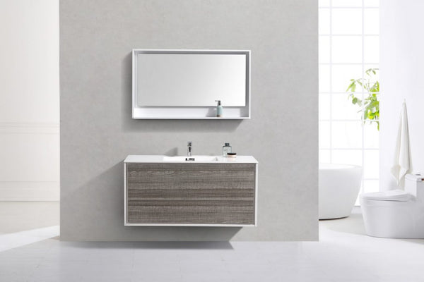 KUBEBATH - 48″ SINGLE SINK ASH GRAY WALL MOUNT MODERN BATHROOM VANITY