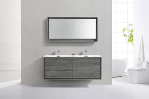 KUBEBATH - 60″ DOUBLE SINK OCEAN GRAY WALL MOUNT MODERN BATHROOM VANITY