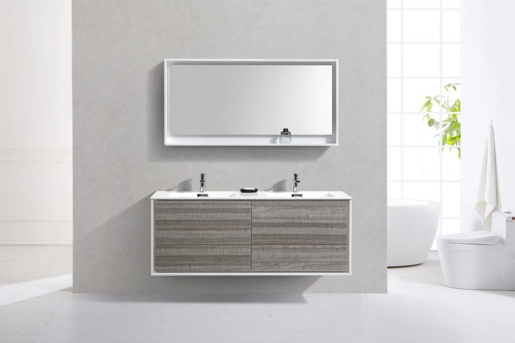 KUBEBATH - 60″ DOUBLE SINK ASH GRAY WALL MOUNT MODERN BATHROOM VANITY