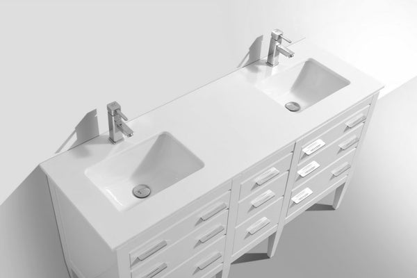 KUBEBATH - 60″ DOUBLE SINK HIGH GLOSS WHITE VANITY W/ WHITE COUNTER TOP