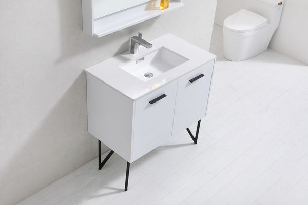 "KUBEBATH - 36"" BATHROOM VANITY WHITE AND NATURAL WOOD"