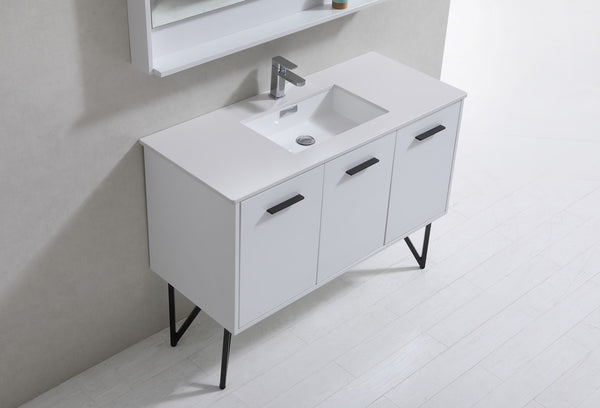 "KUBEBATH - 48"" BATHROOM VANITY WHITE AND NATURAL WOOD"