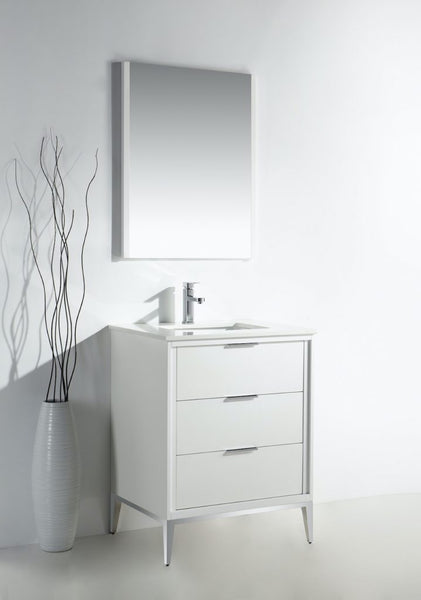 KUBEBATH - DIVANI - 24″ GLOSS WHITE VANITY W/ QUARTZ COUNTER TOP