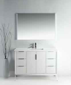 KUBEBATH - 48″ GLOSS WHITE VANITY W/ QUARTZ COUNTER TOP