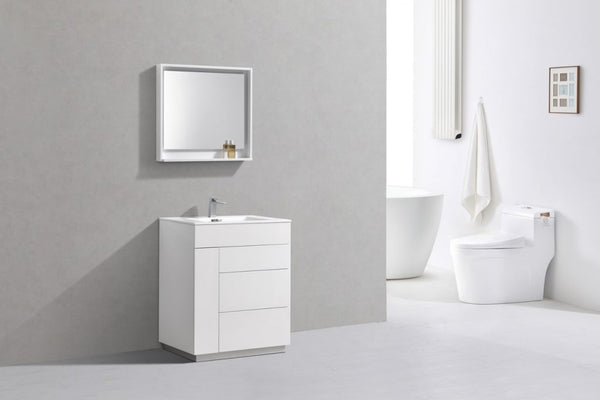 KUBEBATH, 30″ GLOSS WHITE FLOOR MOUNT MODERN BATHROOM VANITY