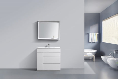 KUBEBATH - 36″ GLOSS WHITE FLOOR MOUNT MODERN BATHROOM VANITY