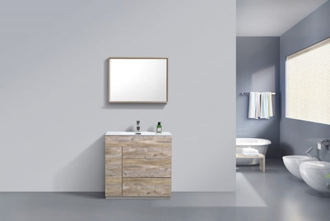 KUBEBATH - 36″ NATURE WOOD FLOOR MOUNT MODERN BATHROOM VANITY
