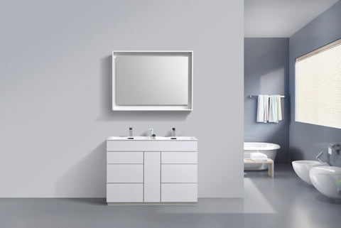 KUBEBATH - 48″ DOUBLE SINK HIGH GLOSS WHITE FLOOR MOUNT MODERN BATHROOM VANITY