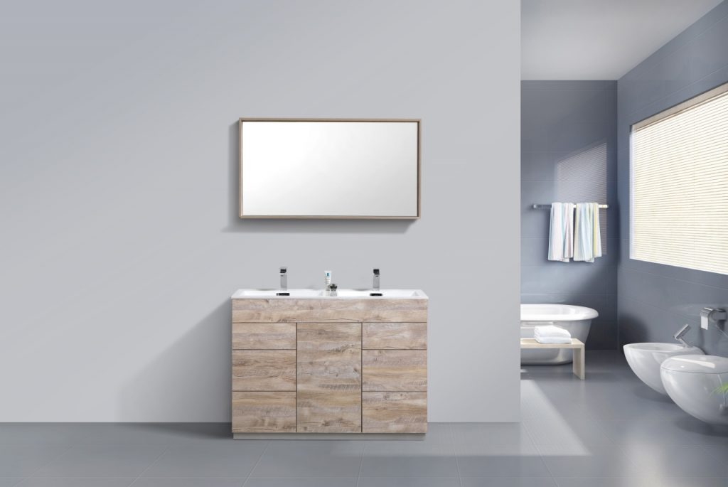 KUBEBATH - 48″ DOUBLE SINK NATURE WOOD FLOOR MOUNT MODERN BATHROOM VANITY