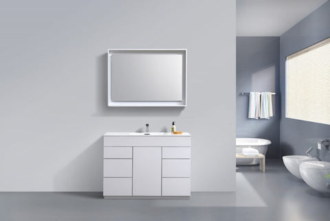 KUBEBATH - 48″ HIGH GLOSS WHITE FLOOR MOUNT MODERN BATHROOM VANITY
