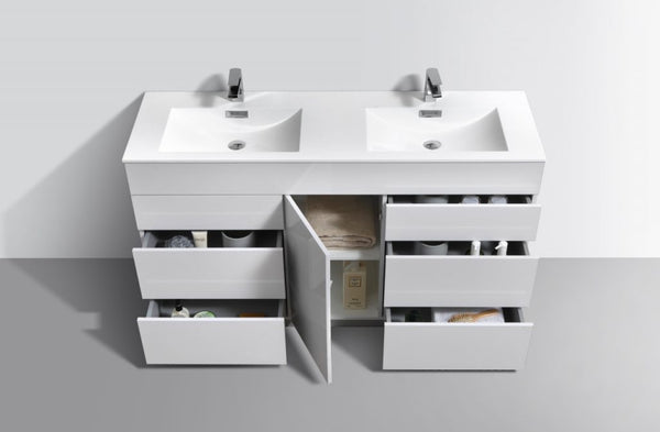 KUBEBATH -  MILANO - 60″ DOUBLE SINK HIGH GLOSS WHITE FLOOR MOUNT MODERN BATHROOM VANITY DOUBLE SINK VANITIES, MILANO, VANITIES