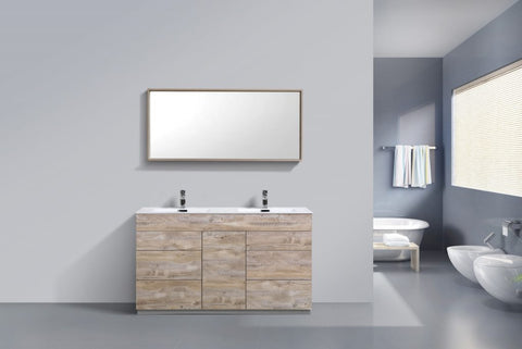 KUBEBATH - 60″ DOUBLE SINK NATURE WOOD FLOOR MOUNT MODERN BATHROOM VANITY