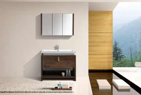 KUBEBATH - L - 40″ ROSE WOOD MODERN BATHROOM VANITY W/ CUBBY HOLE