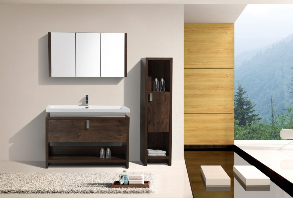 KUBEBATH - L - 48″ ROSE WOOD MODERN BATHROOM VANITY W/ CUBBY HOLE