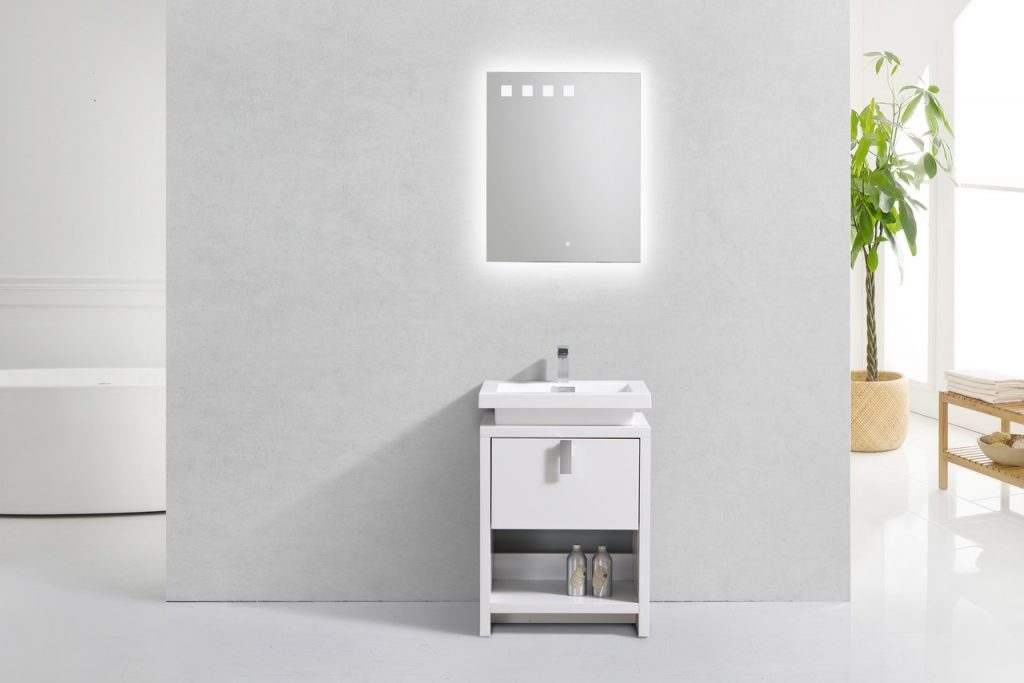 KUBEBATH - L - 24″ HIGH GLOSS WHITE MODERN BATHROOM VANITY W/ CUBBY HOLE