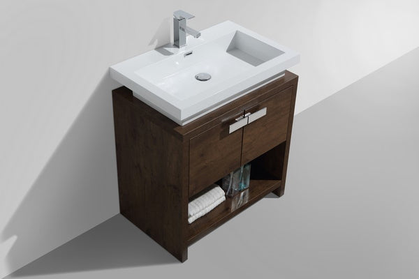KUBEBATH - L - 30″ ROSE WOOD MODERN BATHROOM VANITY W/ CUBBY HOLE