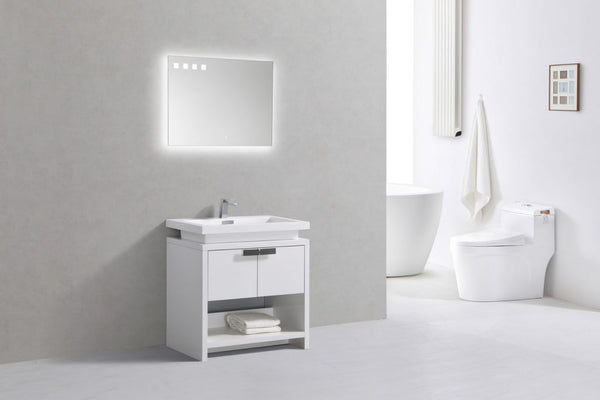KUBEBATH - L - 32″ HIGH GLOSS WHITE MODERN BATHROOM VANITY W/ CUBBY HOLE