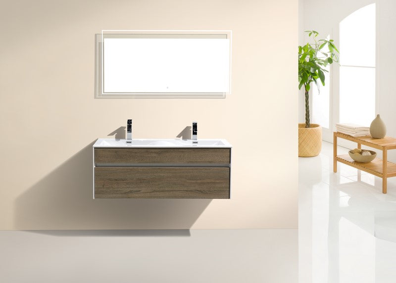KUBEBATH - F - 48″ DOUBLE SINK HAVANA OAK WALL MOUNT MODERN BATHROOM VANITY