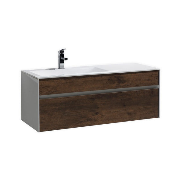 KUBEBATH - F - 48″ ROSE WOOD WALL MOUNT MODERN BATHROOM VANITY