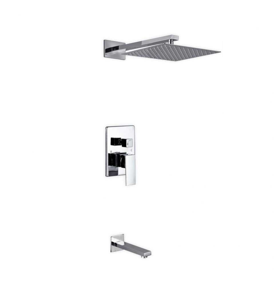 KUBEBATH - AQUA PIAZZA SHOWER SET W/ 12″ SQUARE RAIN SHOWER AND TUB FILLER