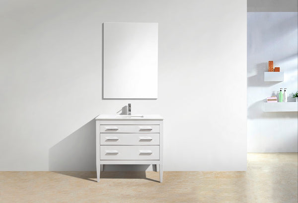"KUBEBATH - 36"" HIGH GLOSS WHITE VANITY W/ WHITE COUNTER TOP"