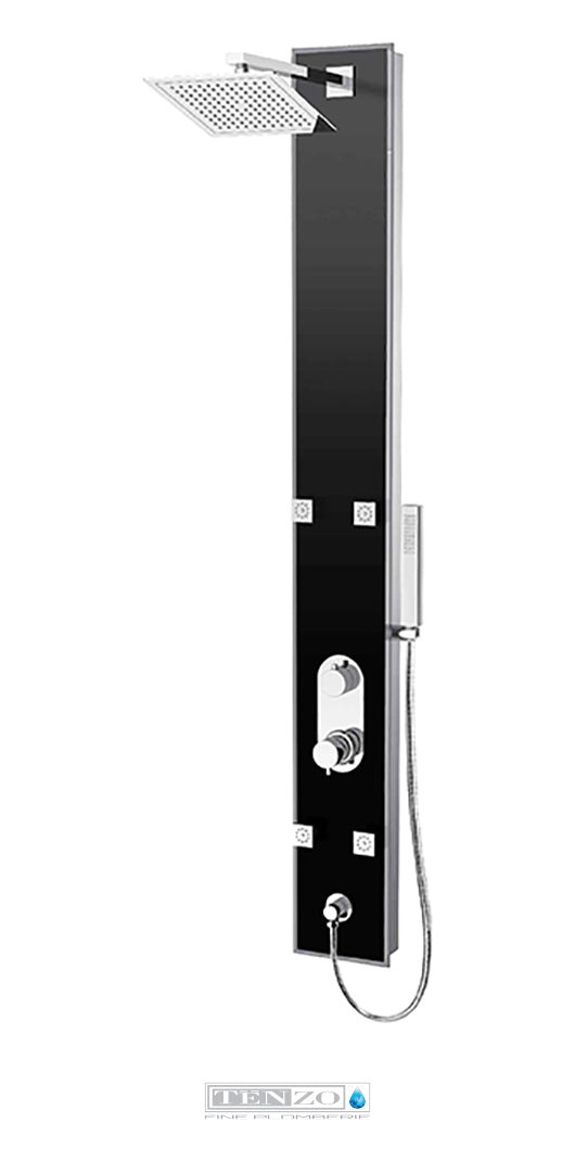 TENZO- Shower column Evolo pres. bal. 3 fcts black tempered glass