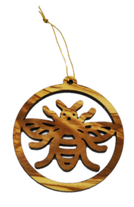 Manchester bee olive wood decoration, made in Bethlehem