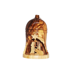 small hanging bell with nativity scene, hand made in Bethlehem from olive wood