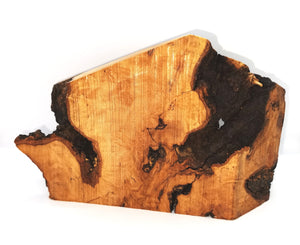 natural olive wood grain, bark, knots