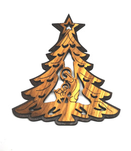 double layered Christmas tree decoration made from olive wood in Bethlehem. Mary and Jesus in tree shaped decoration