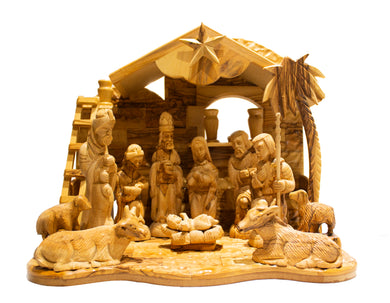 Large nativity scene. Holy family. Stable, star of Bethlehem. 3 kings,  Mary Jesus, Joseph, Shepherd, lambs, donkey, cow